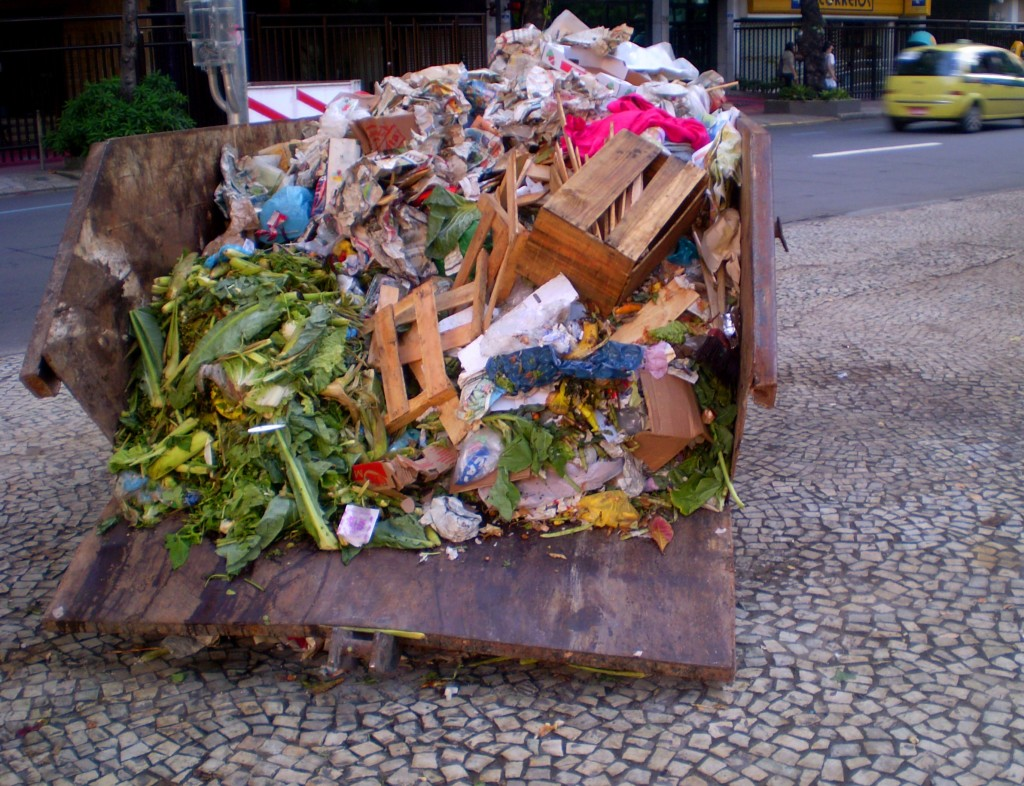 Garbage in Ipanema, one of the wealthiest neighborboods in Rio de Janeiro, Brazil.
